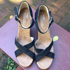 Toms black wedges.  Size 11